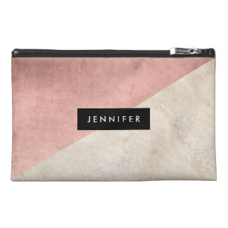 Glam Rose Pink and Marble with Name Travel Accessory Bag