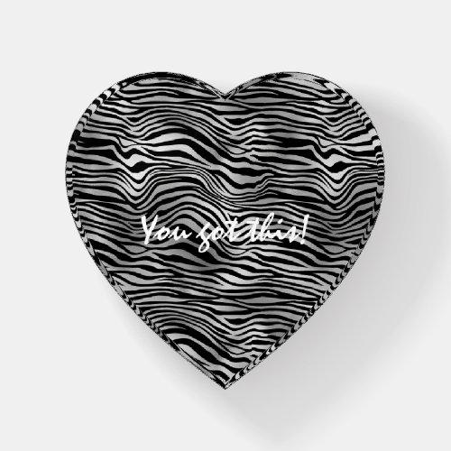 Glam Silver Black Zebra Print Paperweight