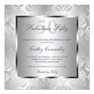 Glam Silver Damask Elegant Fabulous Fifty Card