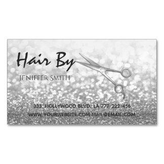 Glam silver elegant modern bokeh scissors business card magnet