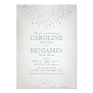 Glam silver glitter art deco vintage wedding invitation