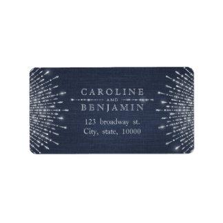 Glam silver glitter deco vintage return address label