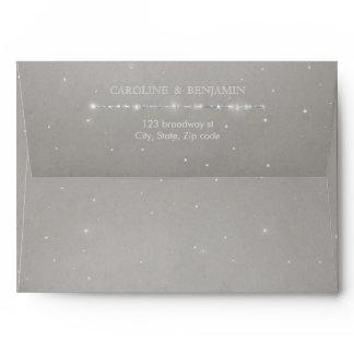 Glam silver glitter deco vintage wedding envelope