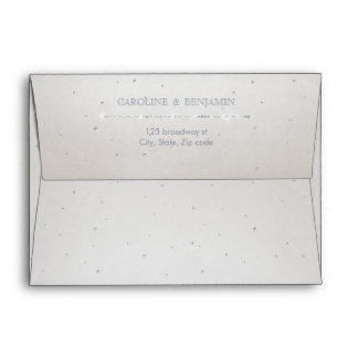 Glam silver glitter deco vintage wedding envelope