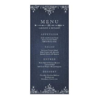 Glam silver glitter deco vintage wedding menu card