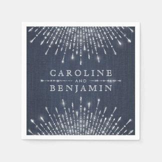 Glam silver glitter deco vintage wedding monogram napkin