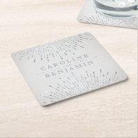 Glam silver glitter deco vintage wedding monogram square paper coaster