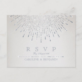 Glam silver glitter deco vintage wedding RSVP Invitation Postcard