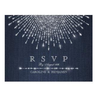 Glam silver glitter deco vintage wedding RSVP Postcard