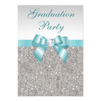Glam Silver Jewels Teal Bow Girls Graduation Party Personalized Invite
