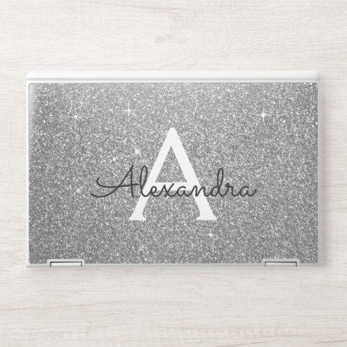 Glam Silver Modern Glitter Sparkle Monogram HP Laptop Skin