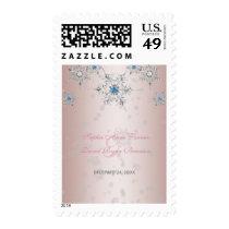 Glam Silver Snowflakes Crystal Pink Pearl Wedding Postage