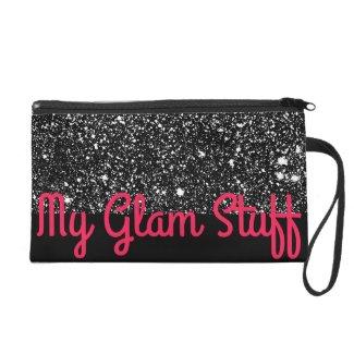 Glam Sparkly Black Glittery Cosmetics Clutch Bags