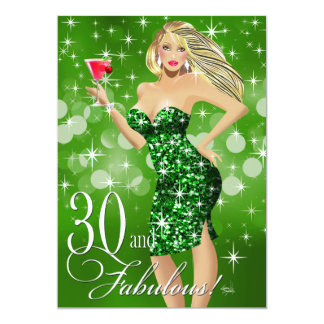 Glam Sparkly Bombshell 30th Birthday | green Card