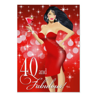 Glam Sparkly Bombshell 40th Birthday | red Card