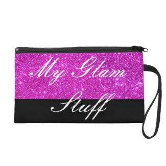 Glam Sparkly Pink Glittery Cosmetics Purse