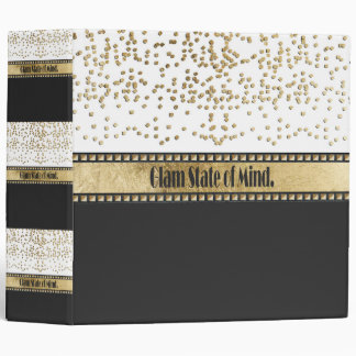 """Glam State of Mind"" Gold Studs, Confetti & Black 3 Ring Binder"