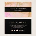 "Glam Stylish Blush Pink, Black, and Faux Gold Business Card<br><div class=""desc"">These modern and elegant business cards feature a blush pink and faux gold glamorous background, with dramatic black. These feminine and stylish cards are especially perfect for anyone working with hair, makeup, fashion, or beauty. Social media icons appear on the back, and you can easily delete any icon you don&#39;t...</div>"
