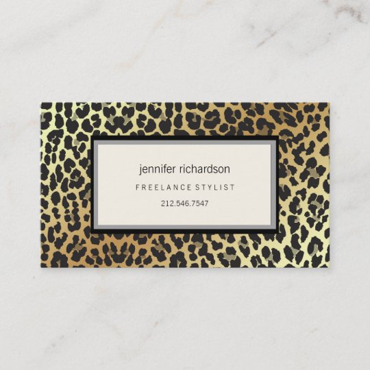 Girly leopard print boutique pretty blue ribbon business card glam stylish chic leopard print and gold foil reheart Image collections