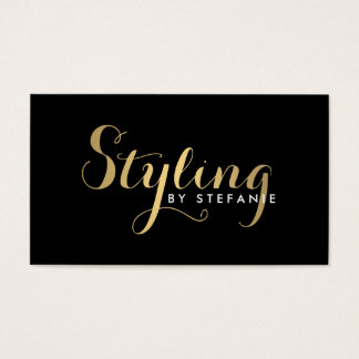Glam Stylist Script Text Gold/Black Business Card