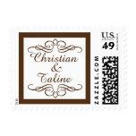 Glam Swirly Flourish Brown Outline Wedding Stamp