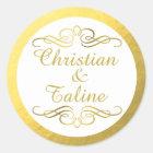 Glam Swirly Flourish Gold Foil Outline Wedding Classic Round Sticker