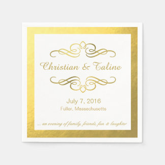 Glam Swirly Flourish Gold Foil Outline Wedding Napkin