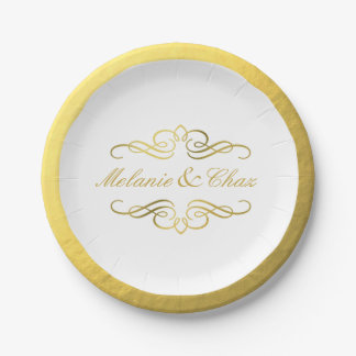 Glam Swirly Flourish Gold Foil Outline Wedding Paper Plate