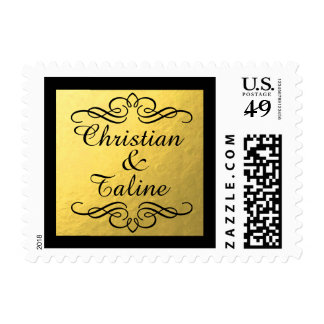 Glam Swirly Flourish Gold Foil Outline Wedding Postage
