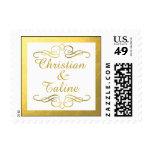 Glam Swirly Flourish Gold Foil Outline Wedding Postage Stamp