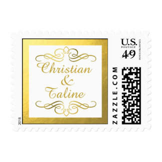 Glam Swirly Flourish Gold Foil Outline Wedding Postage Stamp