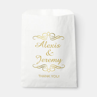 Glam Swirly Flourish Gold Foil Thank You Favor Bags