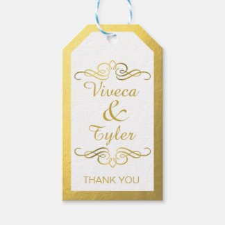 Glam Swirly Flourish Gold Foil Thank You Gift Tags