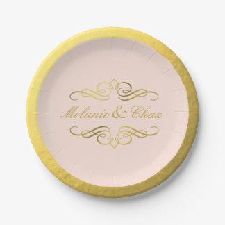 Glam Swirly Flourish Gold Foil Wedding blush pink 7 Inch Paper Plate