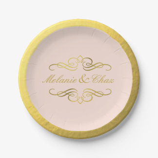 Glam Swirly Flourish Gold Foil Wedding blush pink Paper Plate