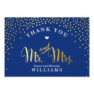 GLAM THANK YOU rustic gold confetti navy blue Card