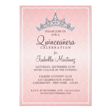 Beach Themed Glam Tiara Quinceanera Celebration Invitation