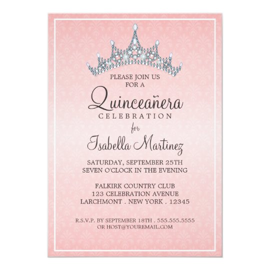 glam tiara quinceanera celebration invitation zazzle com
