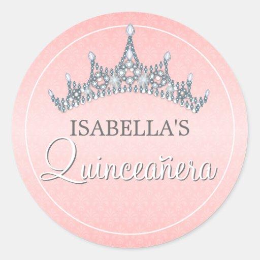 Glam Tiara Quinceanera Celebration Invitation Sticker