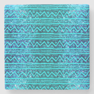 Glam Turquoise Glitter Tribal Print Pattern Stone Coaster