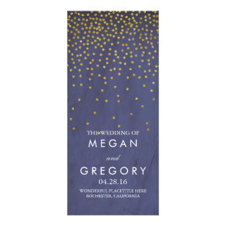 Glam Vintage Gold Confetti Navy Wedding Programs