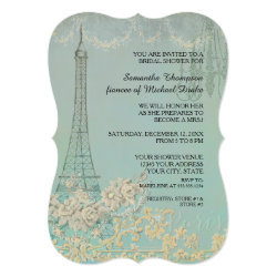 Glam Vintage Paris Parisian Stylish Bridal Shower Card