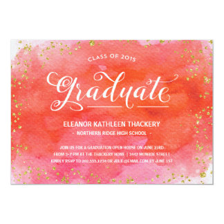 Glam Watercolors | Graduation Party 5x7 Paper Invitation Card