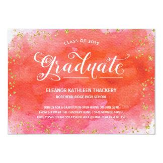 "Glam Watercolors | Graduation Party 5"" X 7"" Invitation Card"