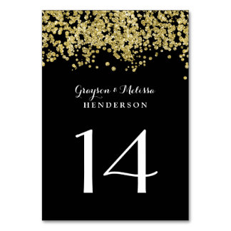 Glam Wedding Table Number | Chic Black and Gold Card