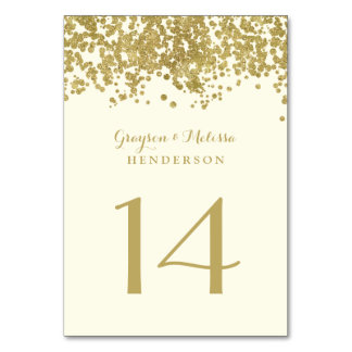 Glam Wedding Table Number | Chic Faux Gold Foil Card