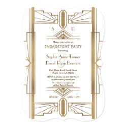 Glam White 1920s Great Gatsby Engagement Party Invitation