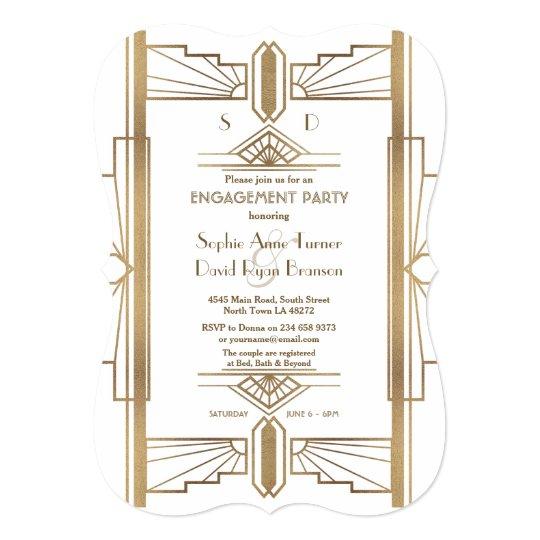Glam White 1920s Great Gatsby Engagement Party Invitation Zazzle Com