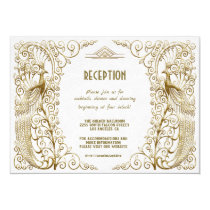 Glam White Gold Art Deco Peacock Wedding Reception Card
