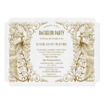 Glam White Gold Art Deco Peacocks Bachelor Party Card